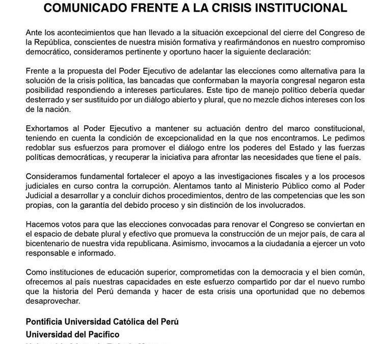 Pronunciamiento frente a la crisis Institucional